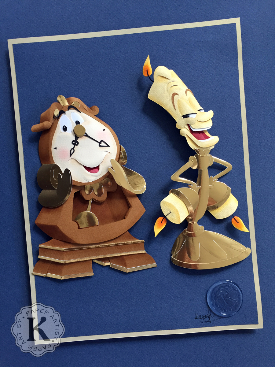 Karin Arruda Paper Art - Lumiere and Cogsworth