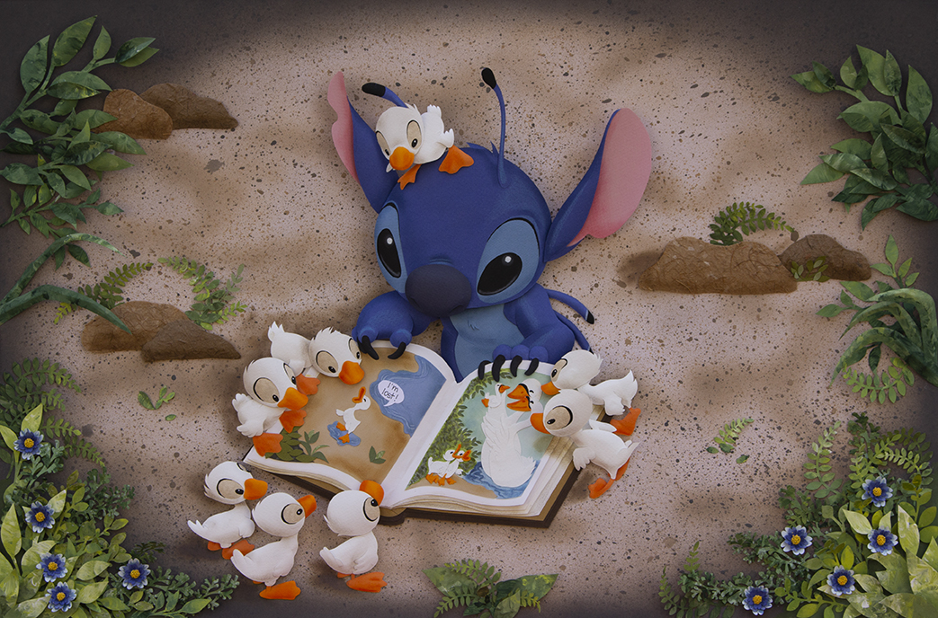 Karin Arruda Paper Art - Story time with Stitch